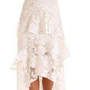 Boston Proper Skirts - Boston Proper Crochet Lace Ruffled Tier Skirt NWOT